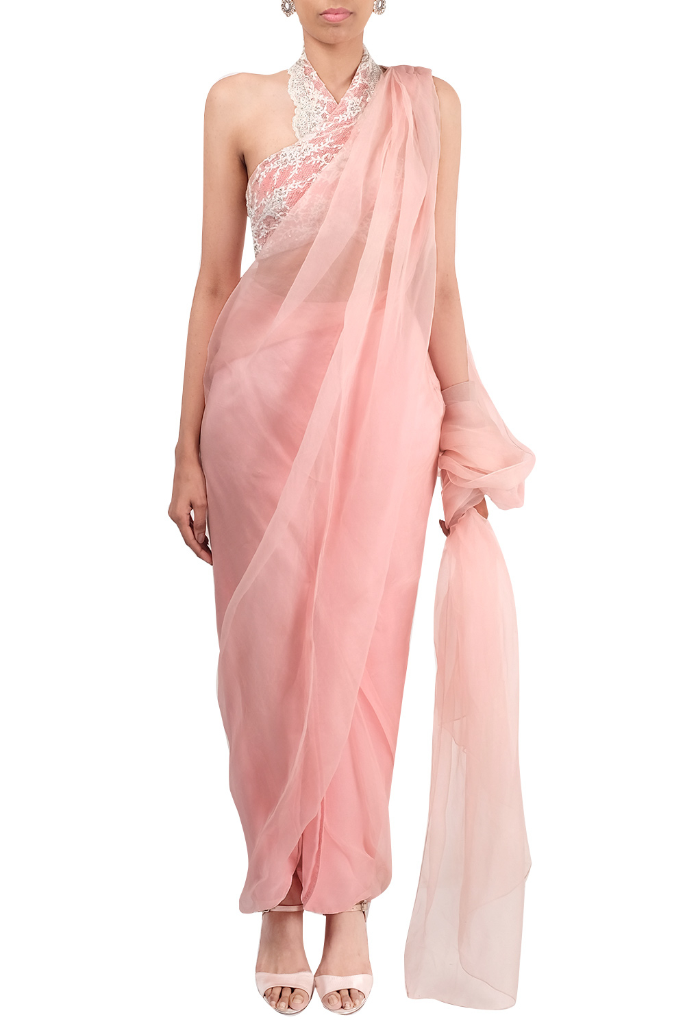 Pink Draped Saree By Shehla Khan Carmaonline Shop
