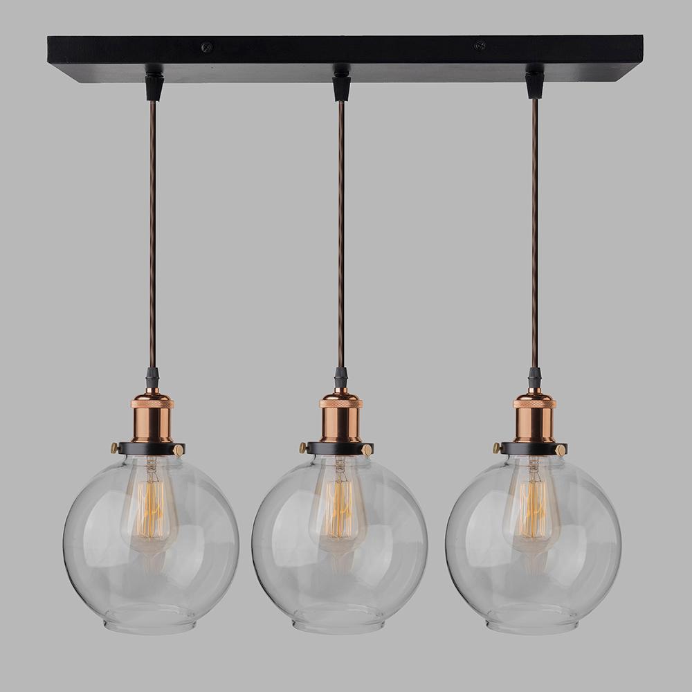 21 Lights Linear Cluster Chandelier Modern Glass Globe Hanging Light