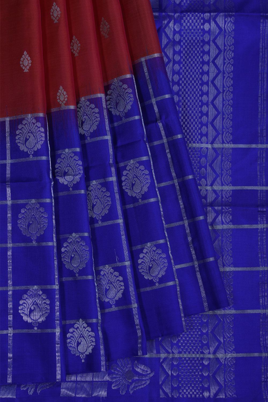 kuppadam saree in pink with royal blue pallu and border