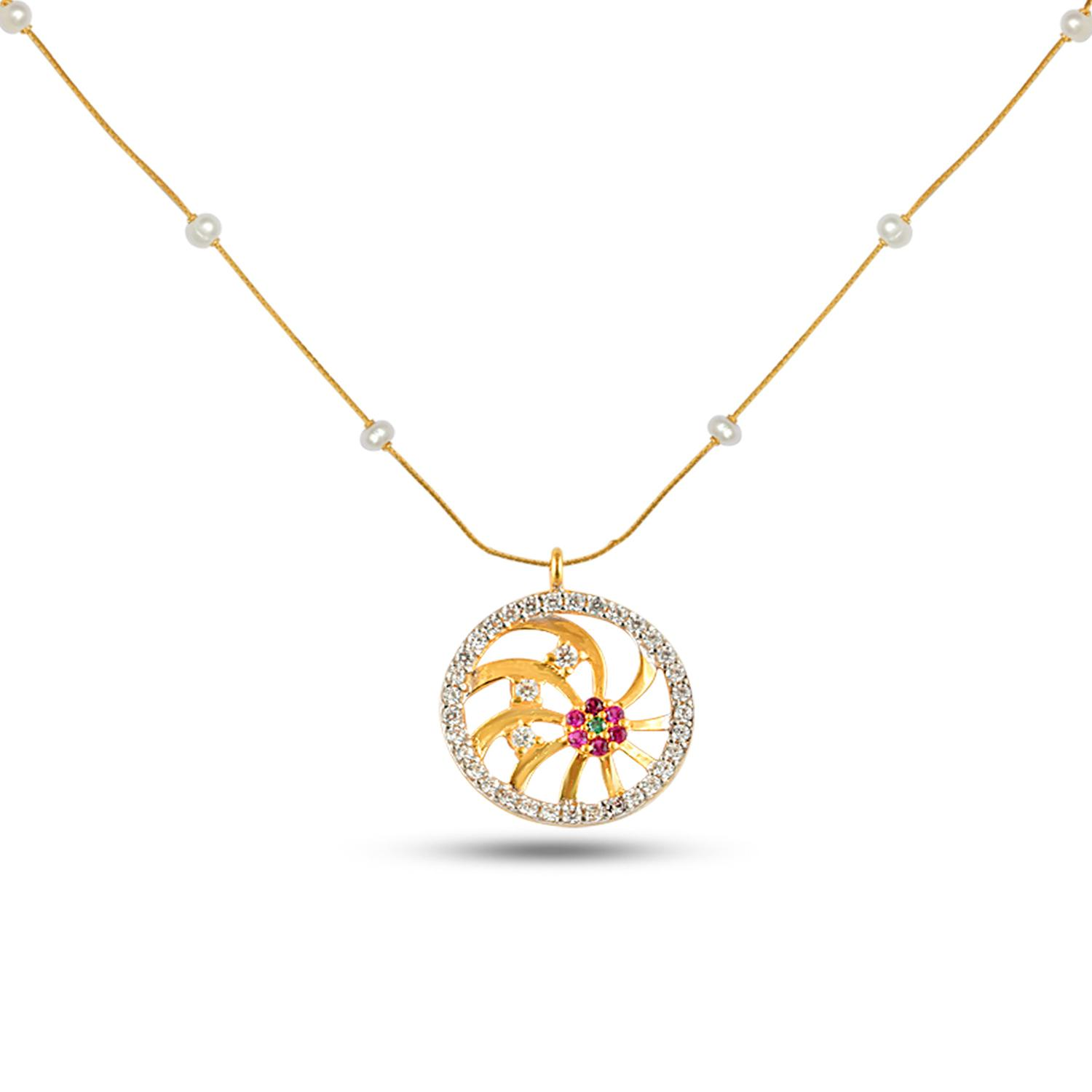 Gold Necklace Set Ruby Floral Gold Pendant With Chain
