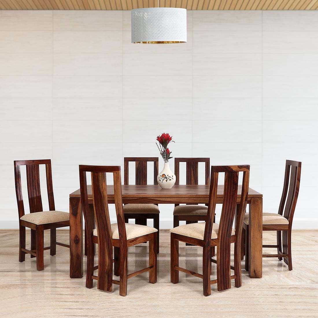 Buy Della Solid Wood 6seater Dining Set In Brown Colour Online Evok