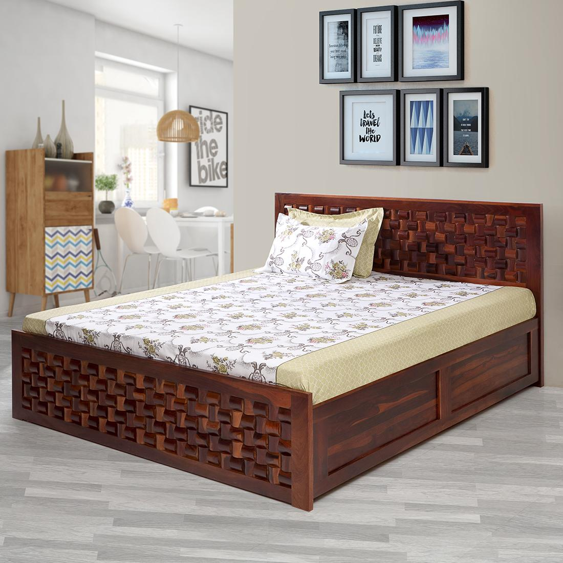 Buy Julieta Solidwood King Bed With Hydraulic Storage Honey Online Evok