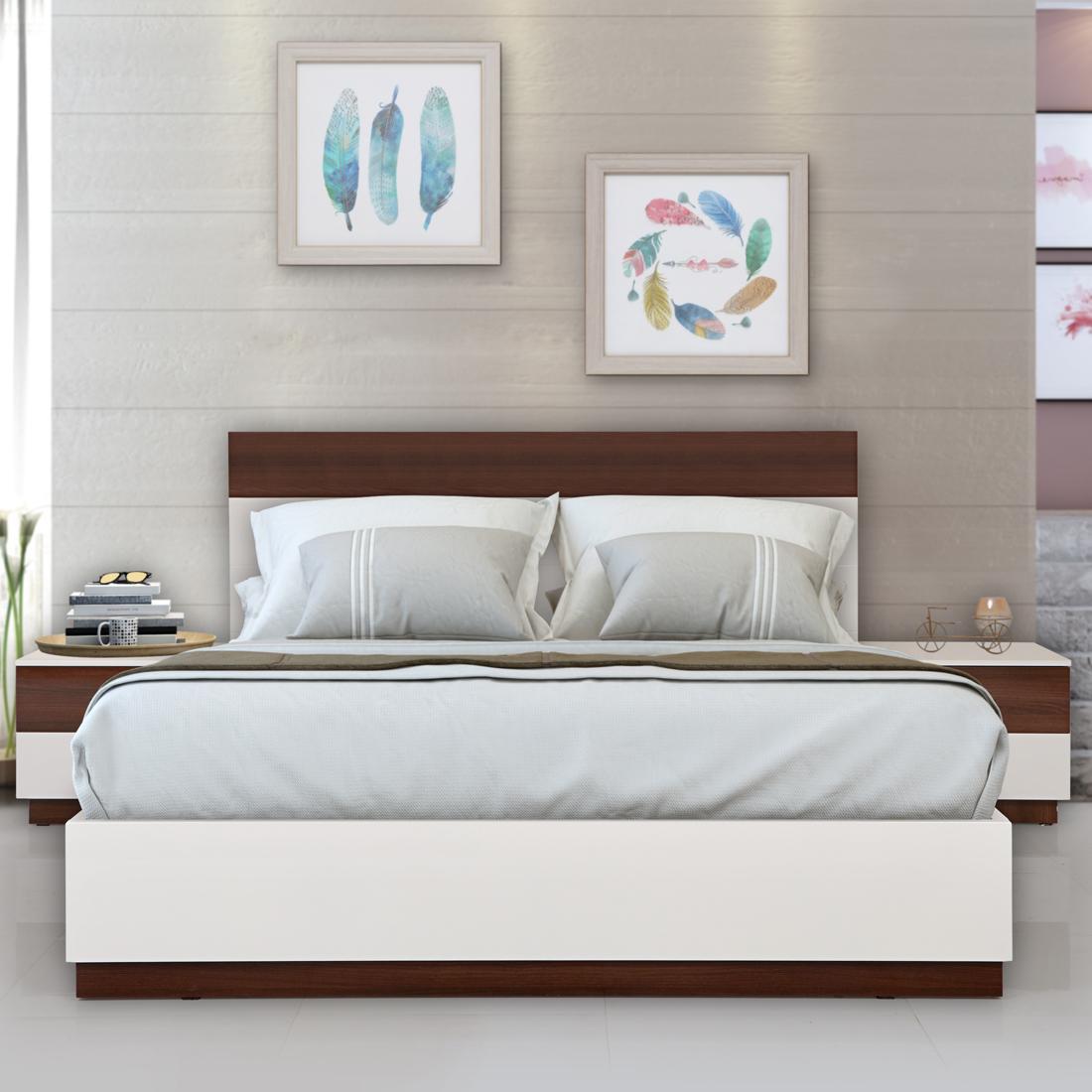 Buy Element Engineerwood Queen Bed With Fullhydraulic Storage White Walnut Online Evok