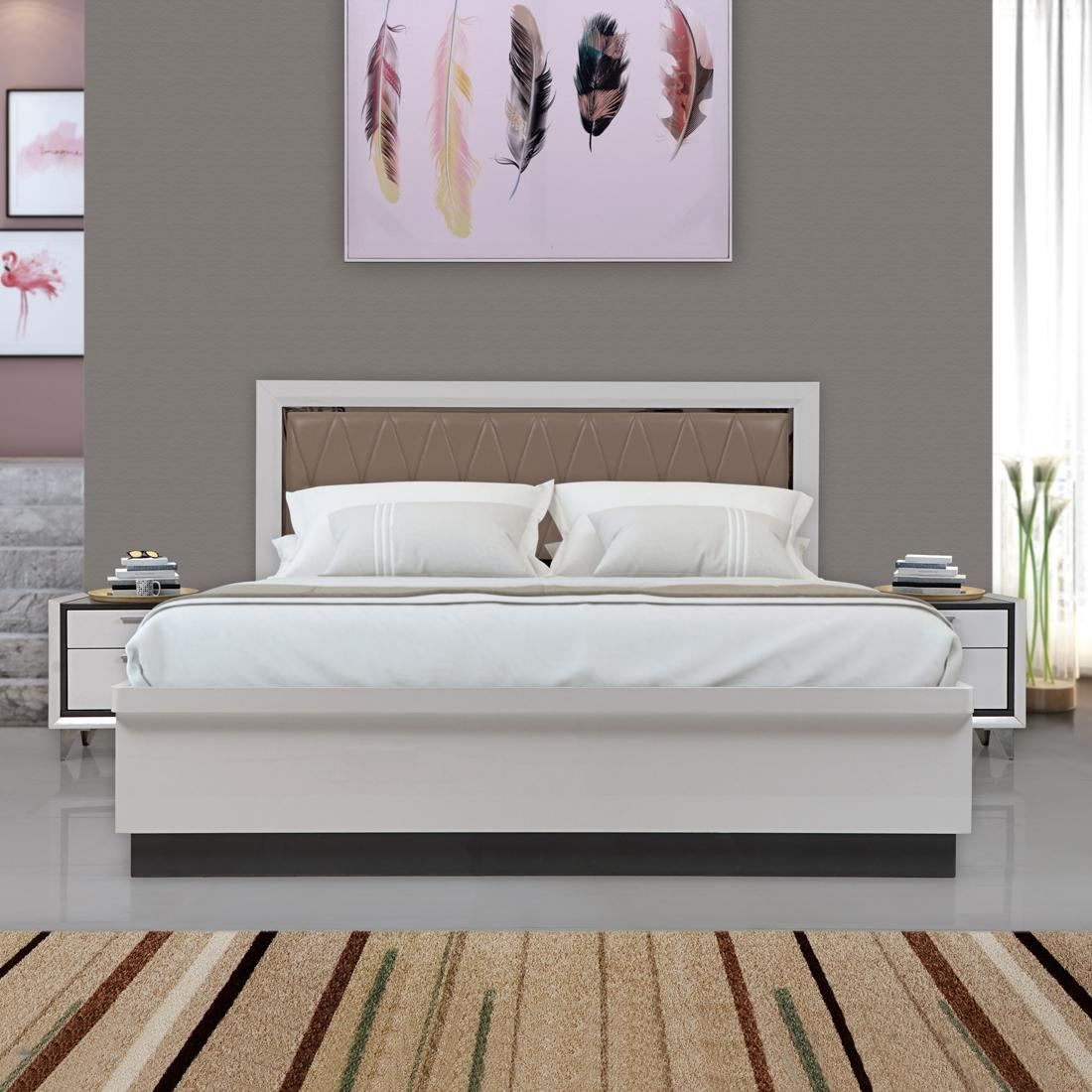 Buy Boston Engineerwood Queen Bed With Full Hydraulic Storage White Online Evok