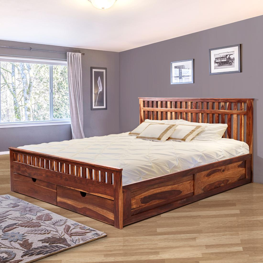 Picture of: Buy Beatrice Solidwood Queen Bed Pull Out Storage Honey Online Evok