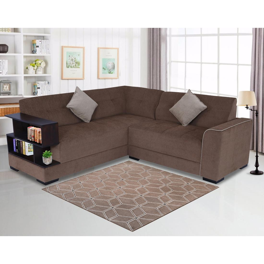 Picture of: Buy Aleena Fabric 5 Seater L Shape Sofa Left Brown Online Evok