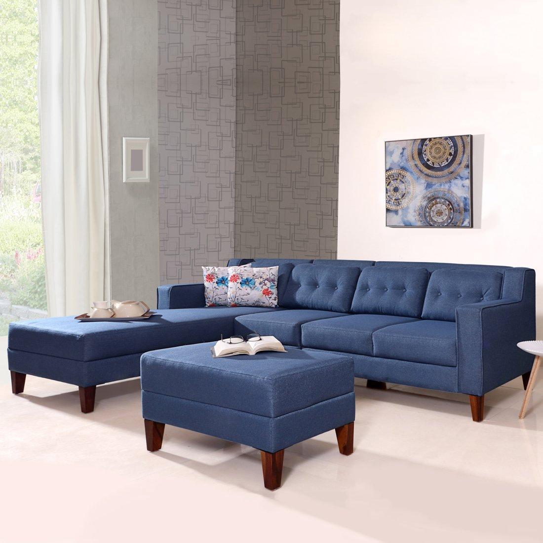 Buy Travis Fabric L Shape Sofa Left With Pouf Light Blue Online Evok