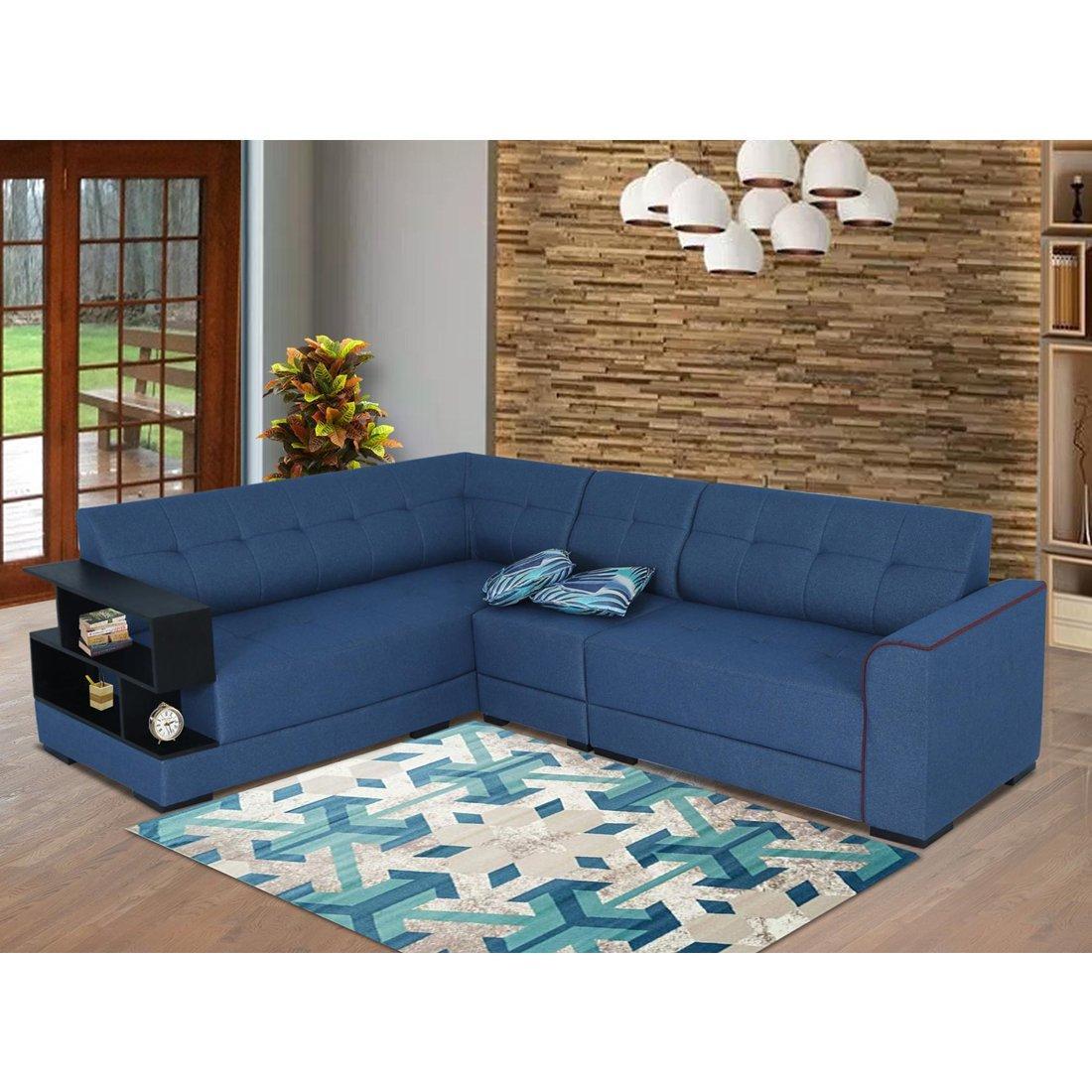 Buy Aleena Fabric 6 Seater L Shape Sofa Left Blue Online Evok