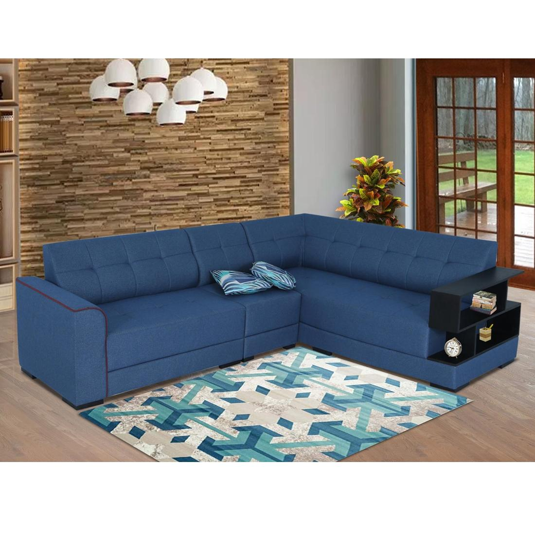 Picture of: Buy Aleena Fabric 6 Seater L Shape Sofa Right Blue Online Evok