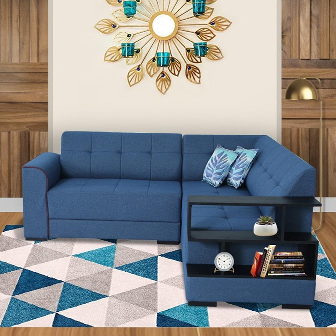 Picture of: Buy Aleena Fabric 5 Seater L Shape Sofa Right Blue Online Evok