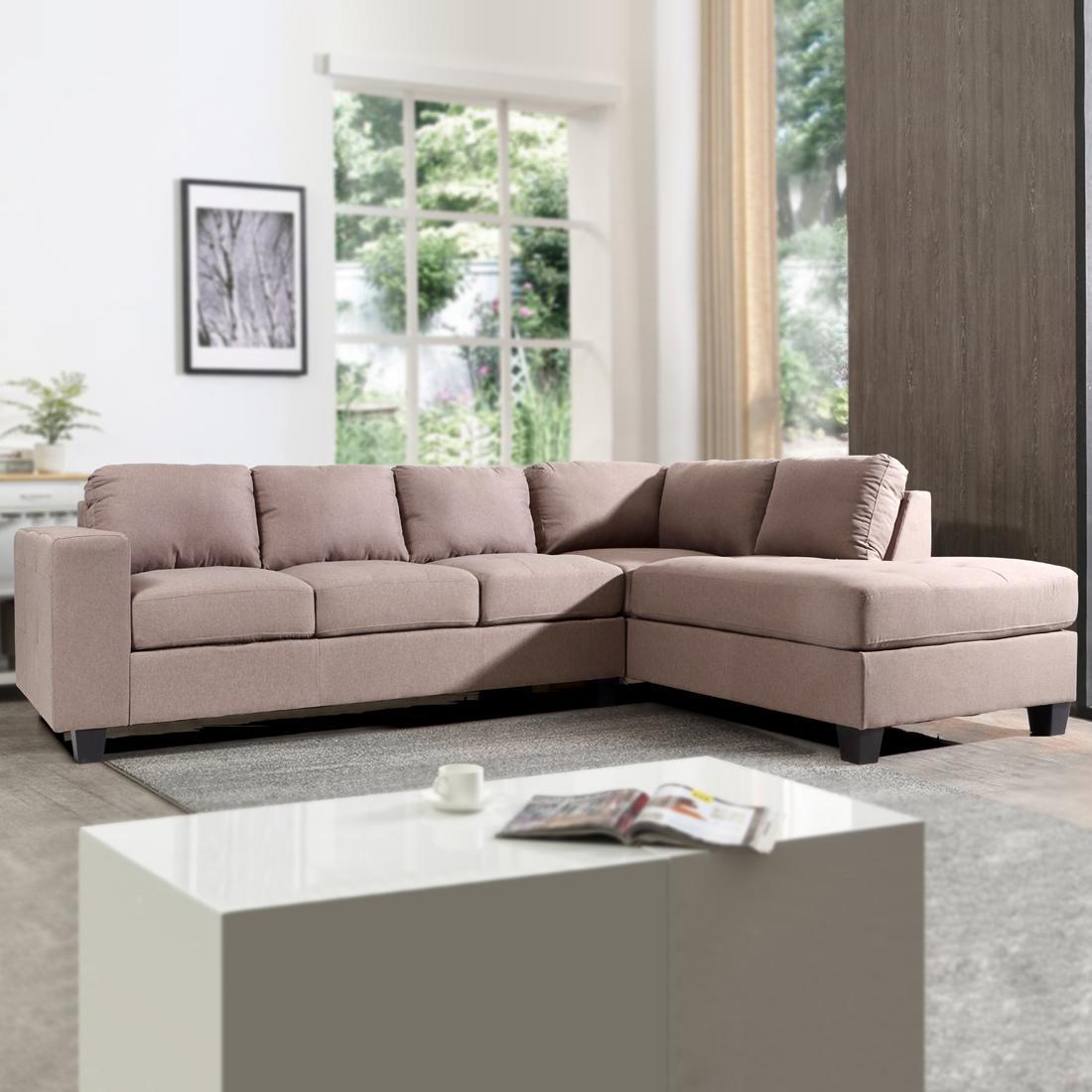 Buy Latvia L Shape Fabric Sofa Right Dark Brown Online Evok