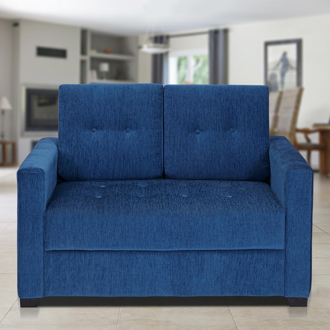 Buy Jacob Fabric 3 2 Seater Sofa Set In Blue Color Online Evok
