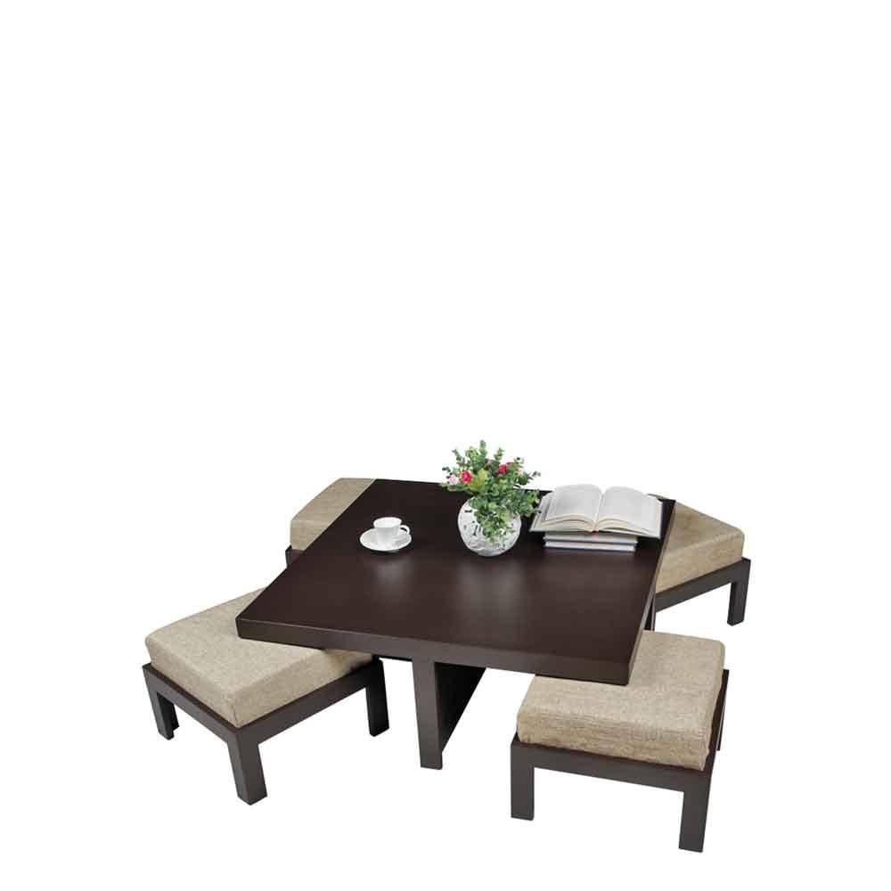 - Buy ARRA Trendy Coffee Table With Four Stools - Jute Online - Evok