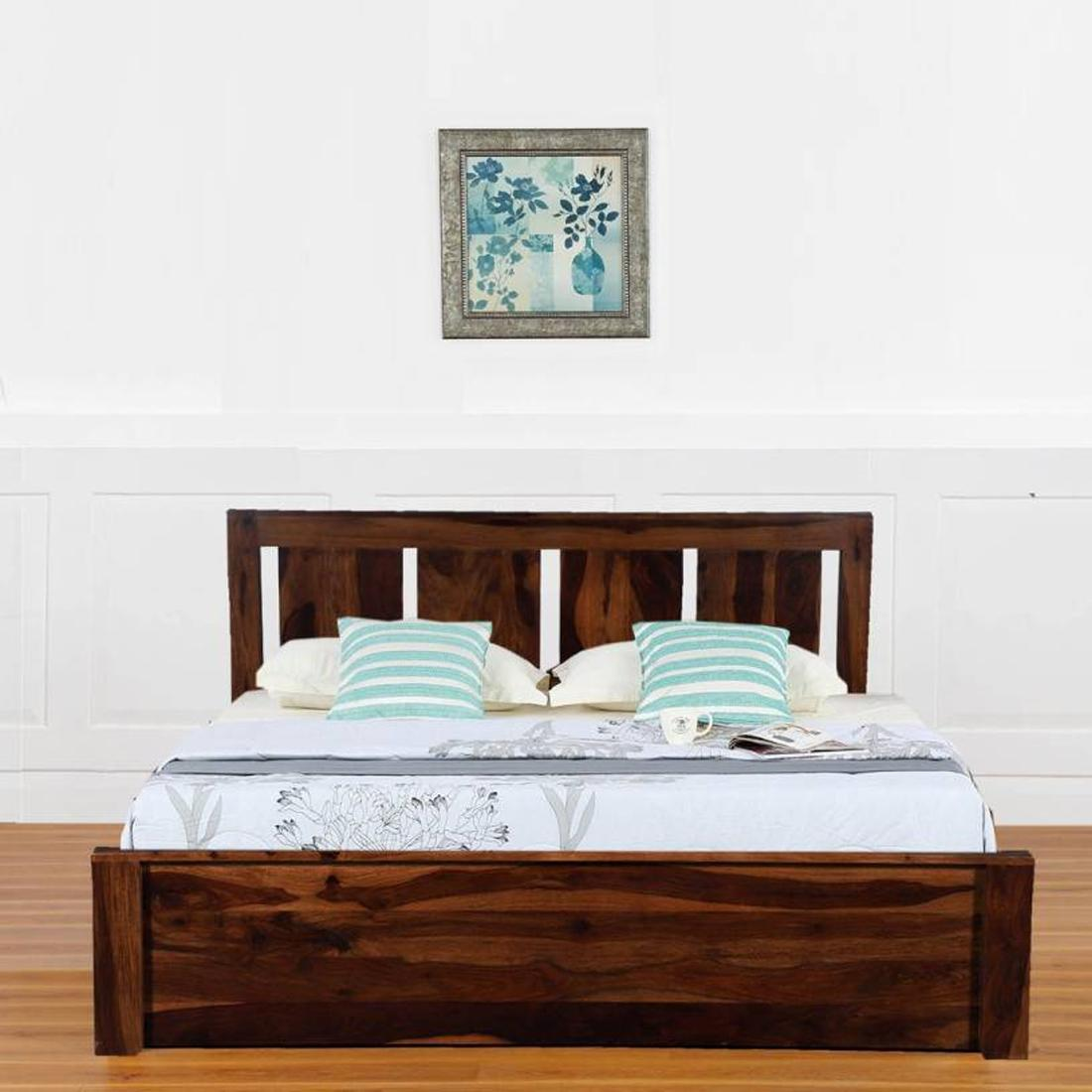 Picture of: Buy Casastyle Anasta Solid Wood Queen Bed With Storage In Walnut Finish Online Evok