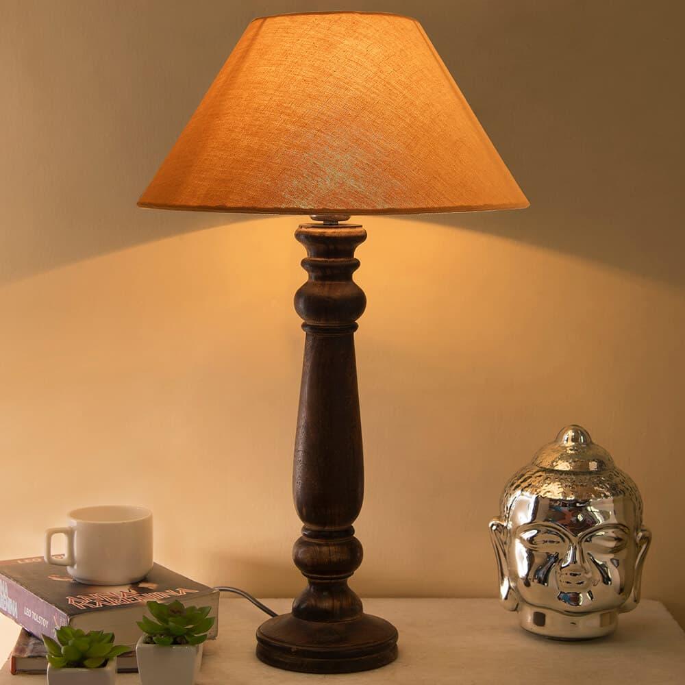 Buy Mabel Antique Black Wood Table Lamp With Golden Shade Online Evok