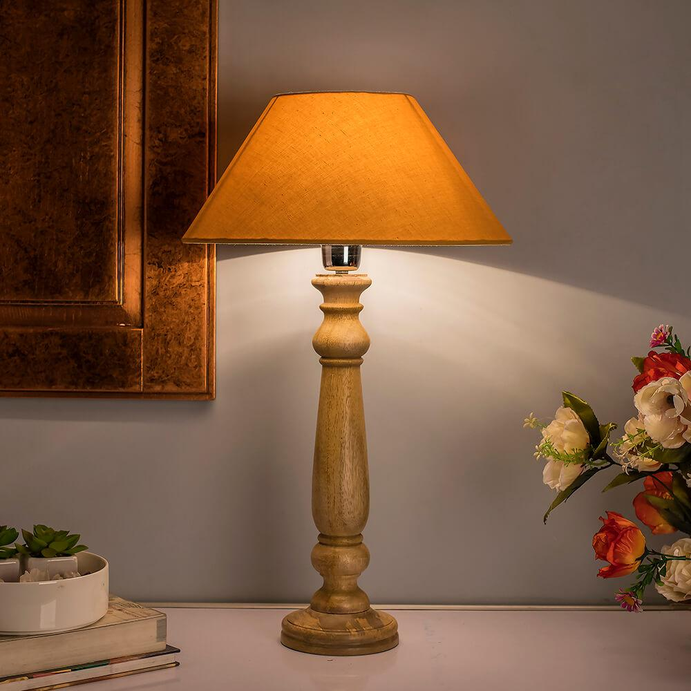 Buy Mabel Rustic Wood Table Lamp With Golden Shade Online Evok