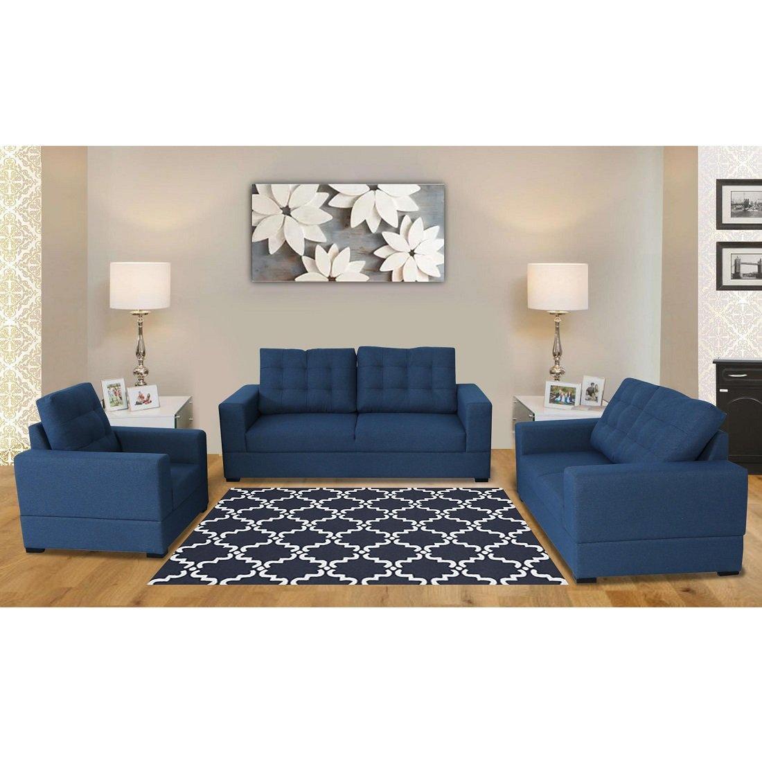 Buy Grafton Sofa Sets Of 3 2 1 In Blue Colour Evok