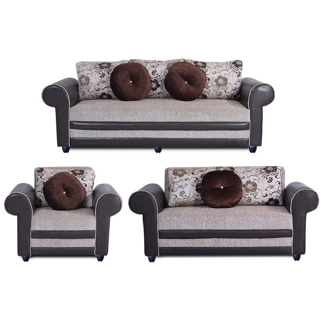 Alex Fabric Cream Brown Sofa Set