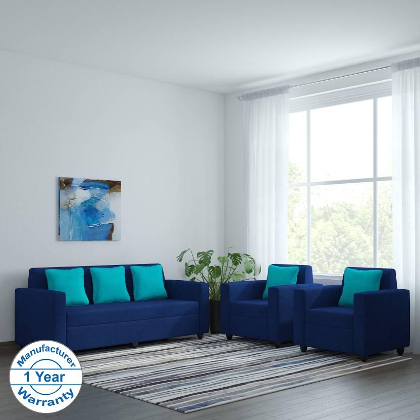 Bharat Lifestyle Desy Fabric 3 1 1 Blue Sofa Set Online Price In India Buybharat Lifestyle Desy
