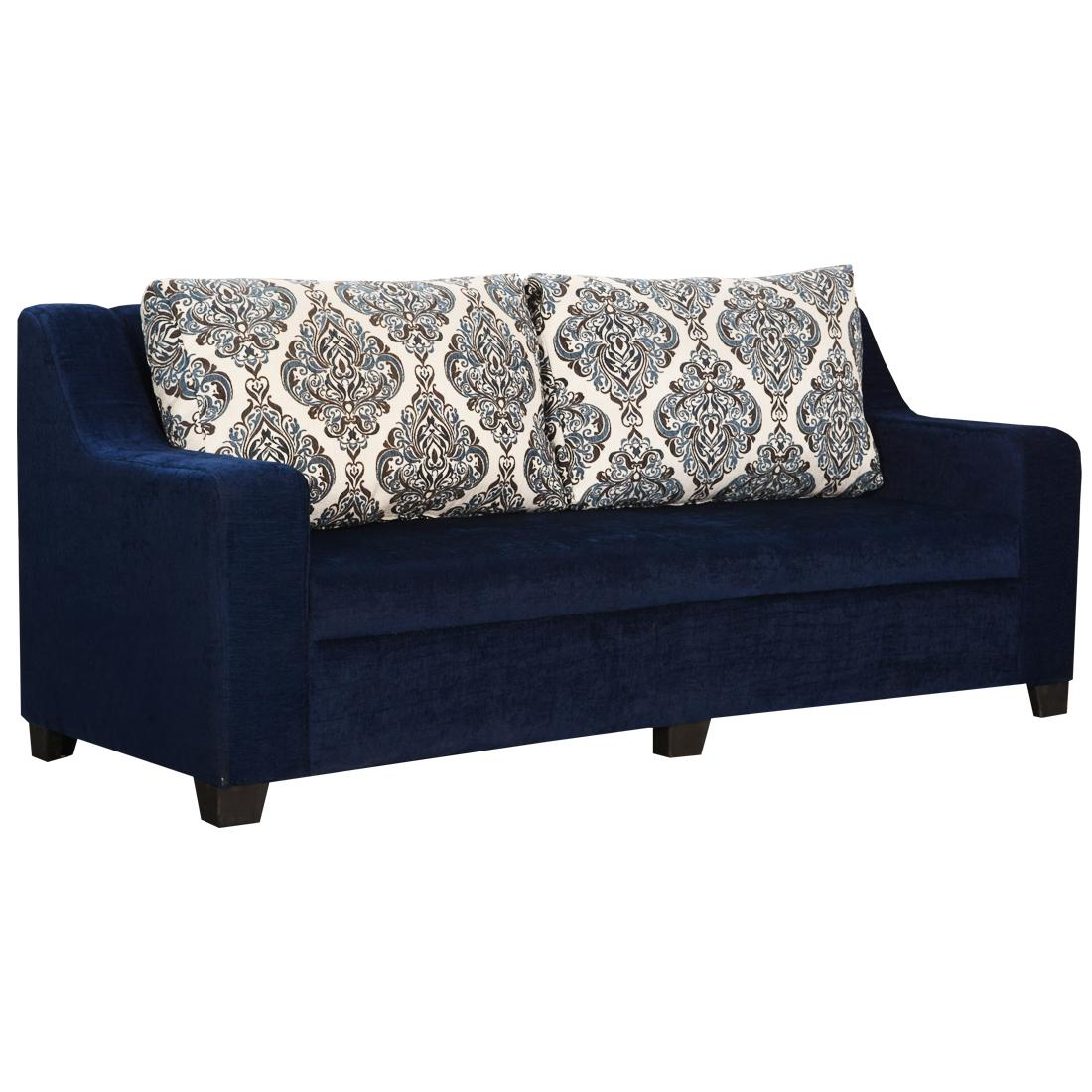 Bharat Lifestyle New Alisa Fabric 3 Seater Sofa Color Blue