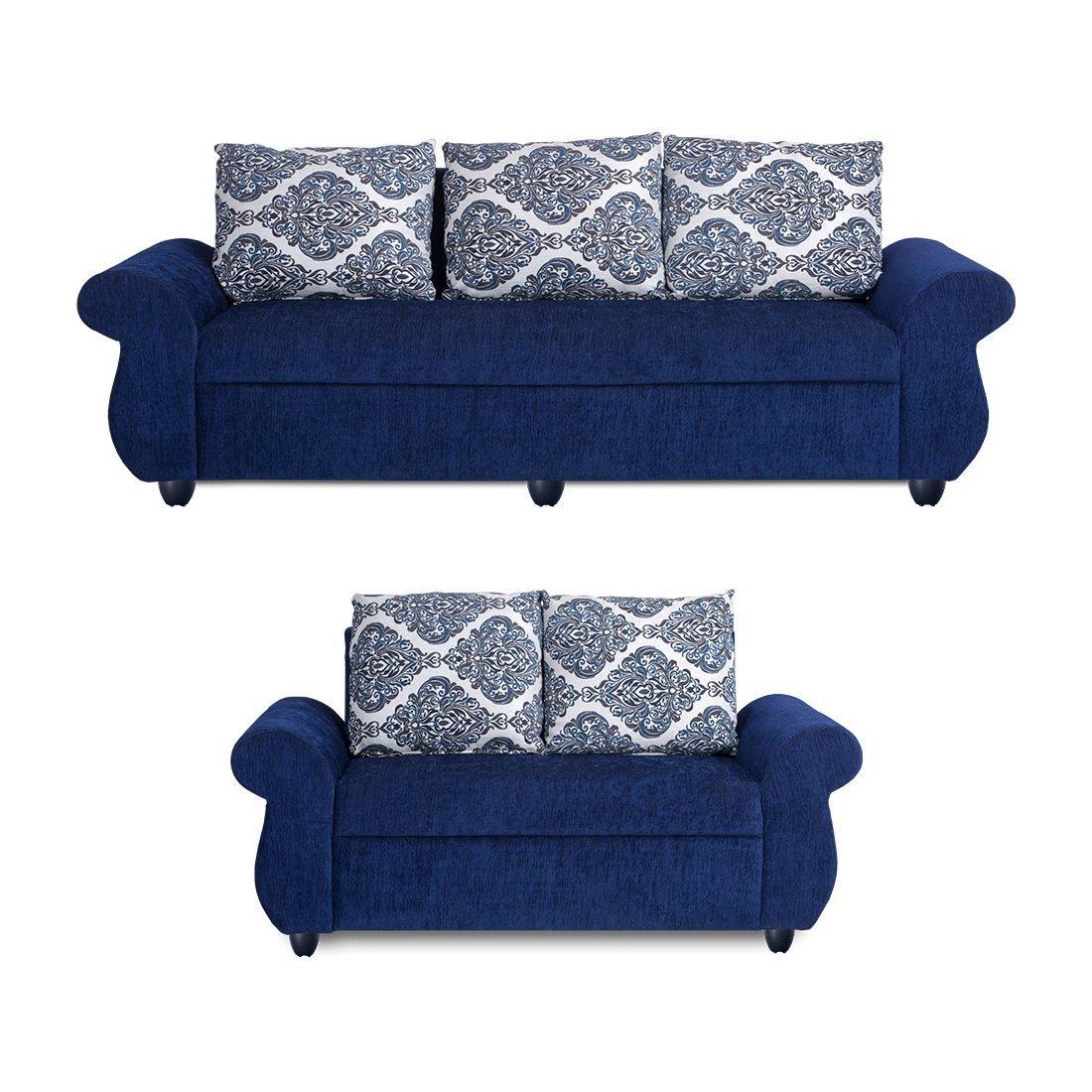 Picture of: Bharat Lifestyle Alisa Fabric 3 2 Blue Sofa Set Online Price In India Buybharat Lifestyle Alisa F