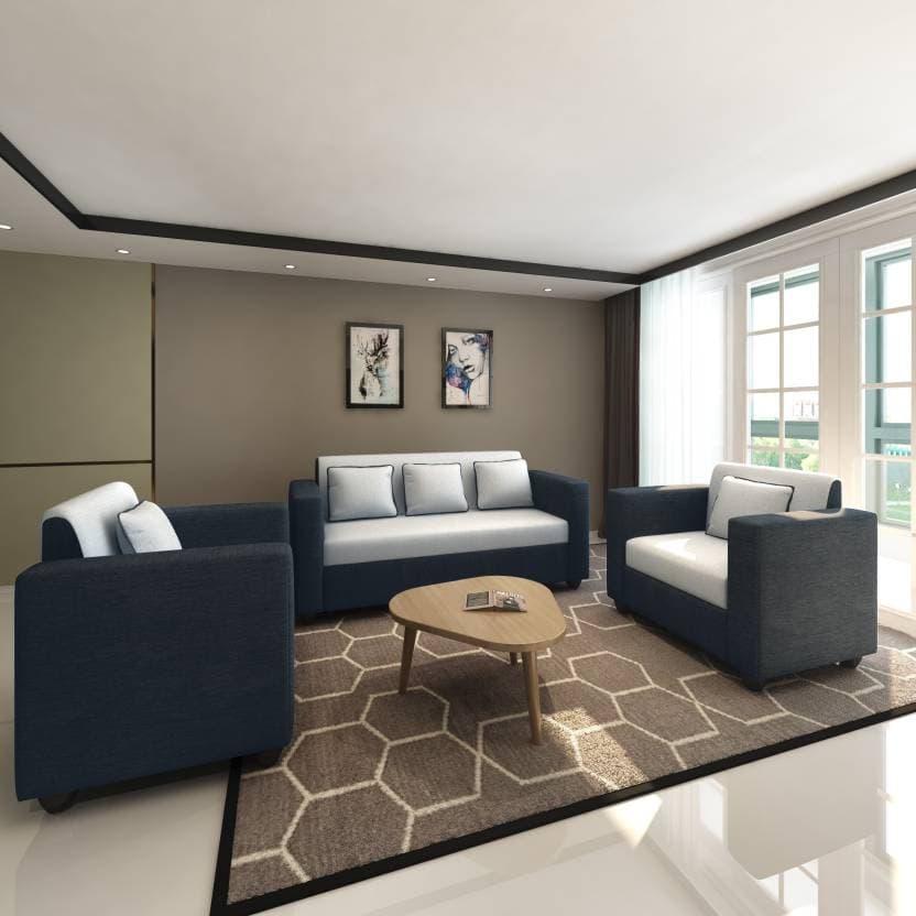 Bharat Lifestyle Tulip Fabric 3 1 1 Sofa Set Black Grey Online