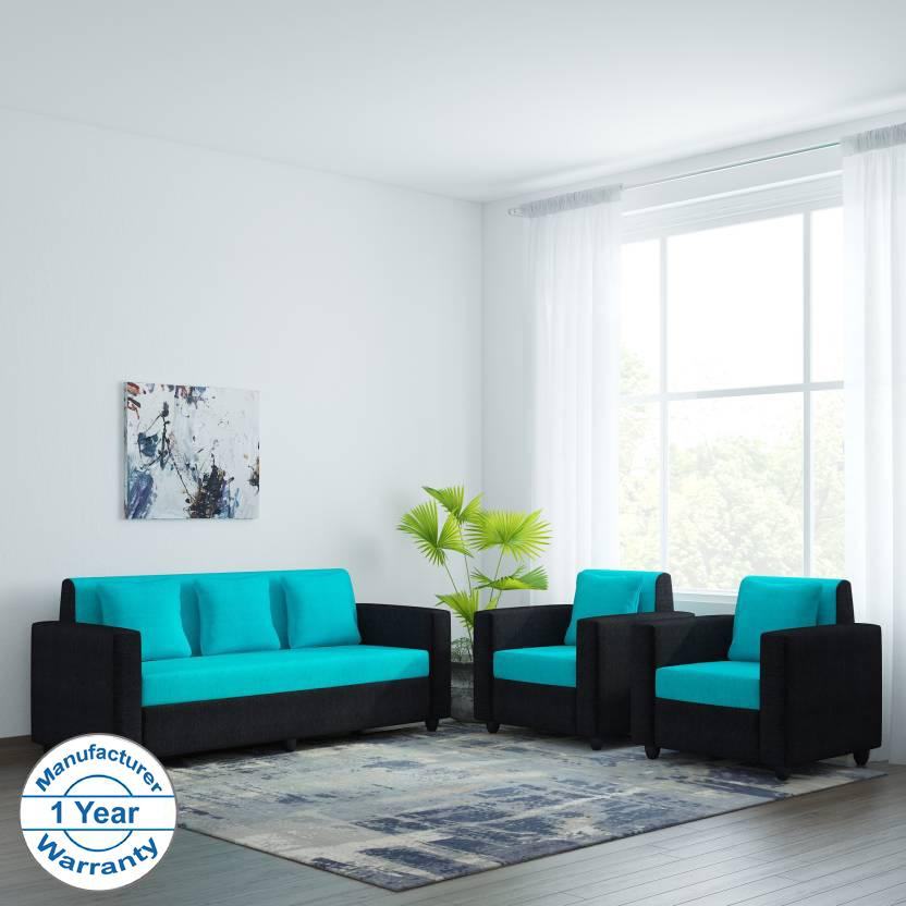 Bharat Lifestyle Desy Fabric 3 1 1 Aqua Blue Black Sofa Set Online Price In India Buybharat L