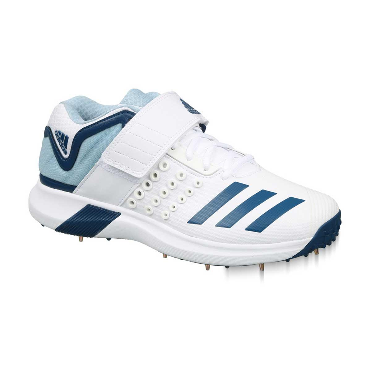 Adidas AdiPower Vector Mid-Cut Cricket Shoes (White/Blue/Grey)