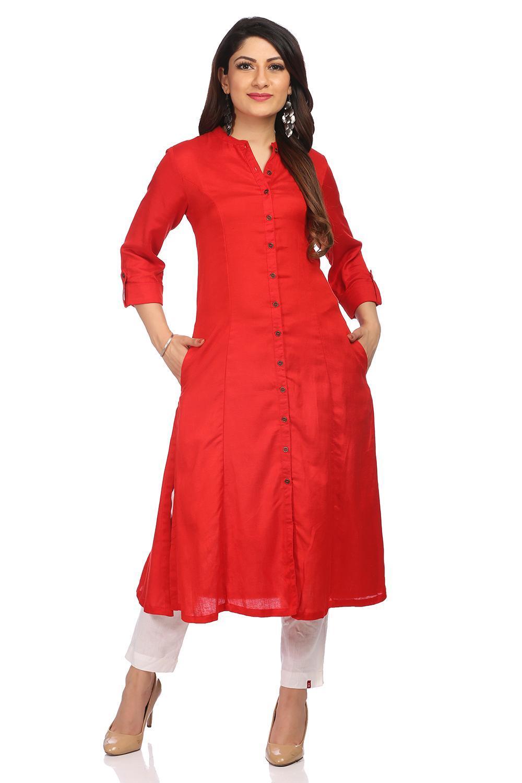 Red Front Open Cotton Rayon & Linen Kurta - CORE13