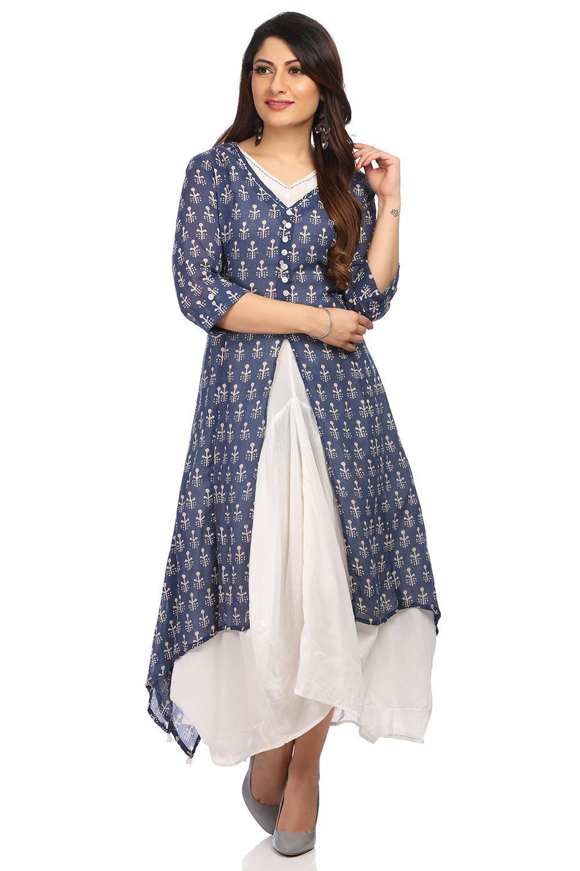 Blue Asymmetric Cotton Dress - DRESSES13750SS18BLU