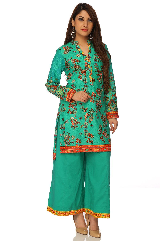Turquoise Straight Cotton Kurta - FOLKKIK13457AW17