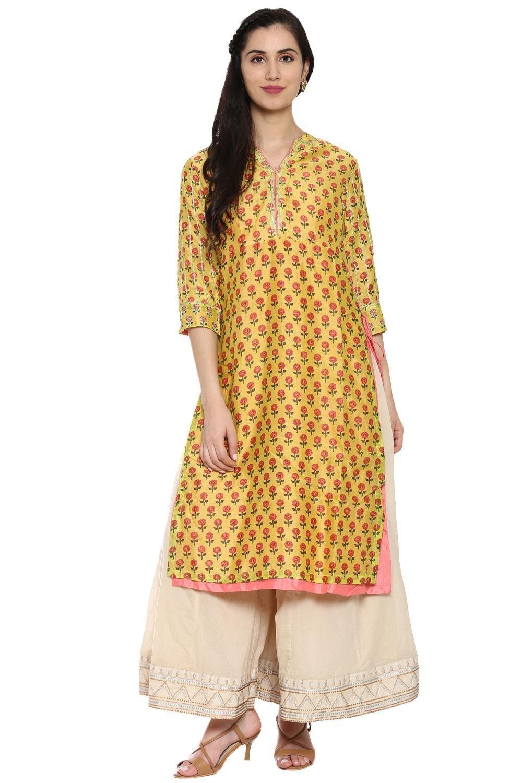 Yellow & Pink Straight Cotton Silk Kurta - GOLDENG
