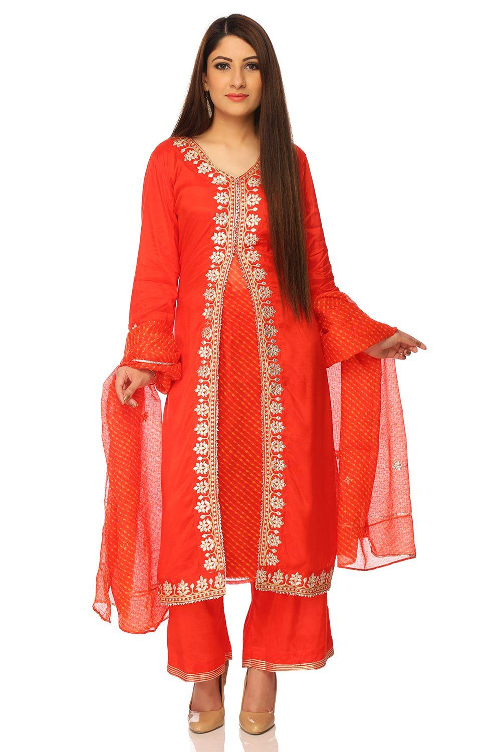 Red Flared Viscose Suit Set - SKD5212AW17RED