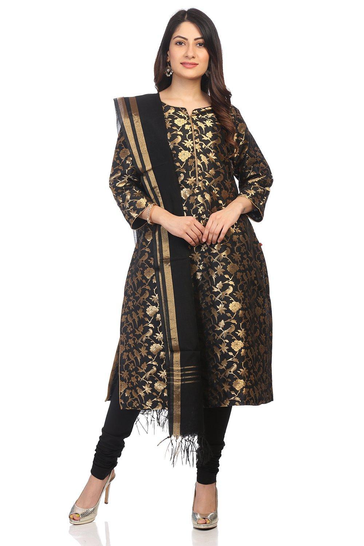 Black Poly Metallic Straight Suit Set - SKD5766AW1