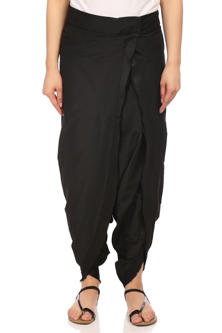 Black Poly Viscose Petal Pants - CORE14435SS18BLK