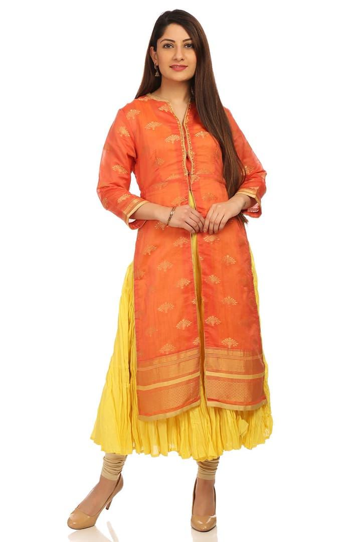 Orange & Yellow Flared Poly Metallic Cotton Kurta