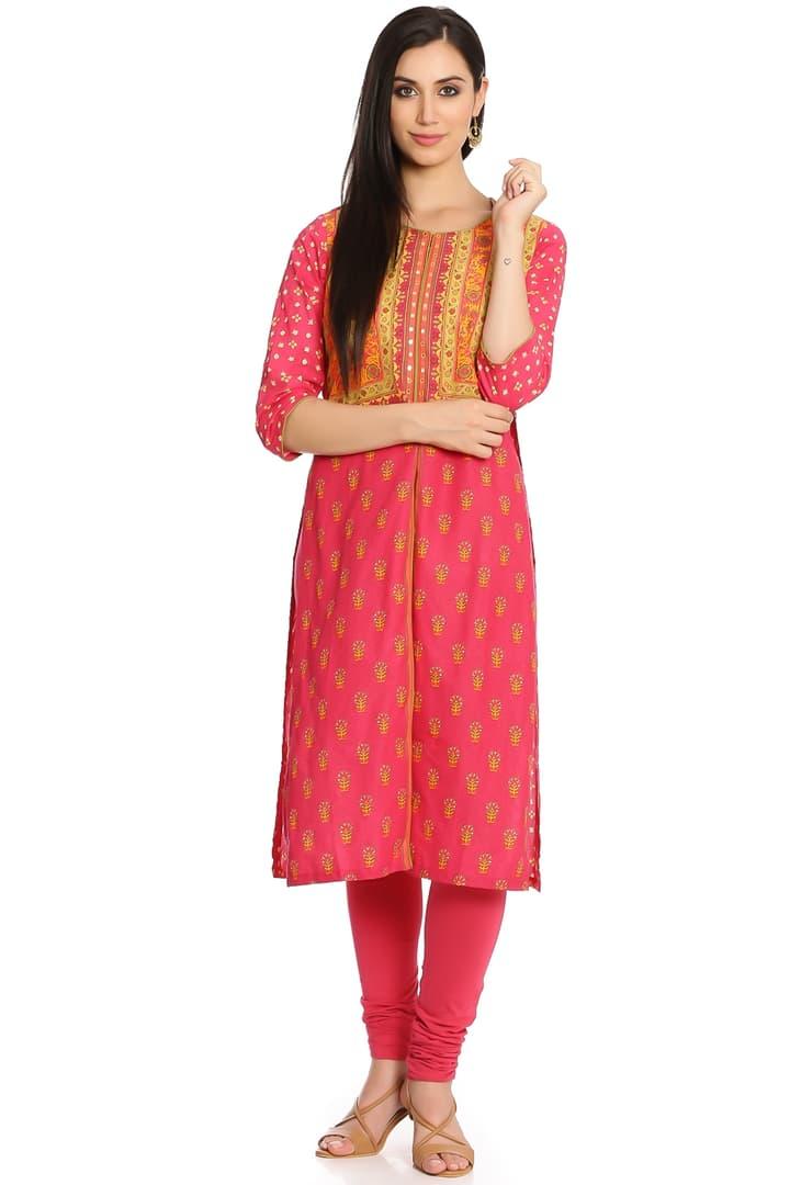 Pink Cotton Flared Kurta - GULMOHAR12637PNK