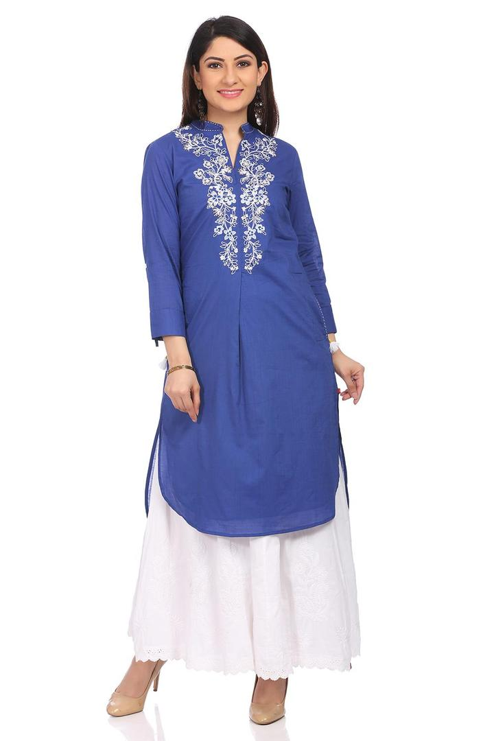 Indigo Straight High Low Cotton Kurta - ISLANDT138