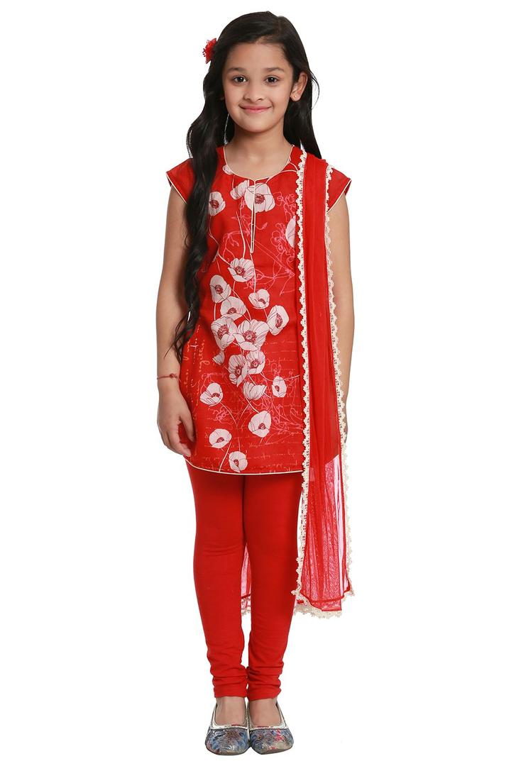 Red Straight Poly Cotton Suit Set - KW2709SS18RED
