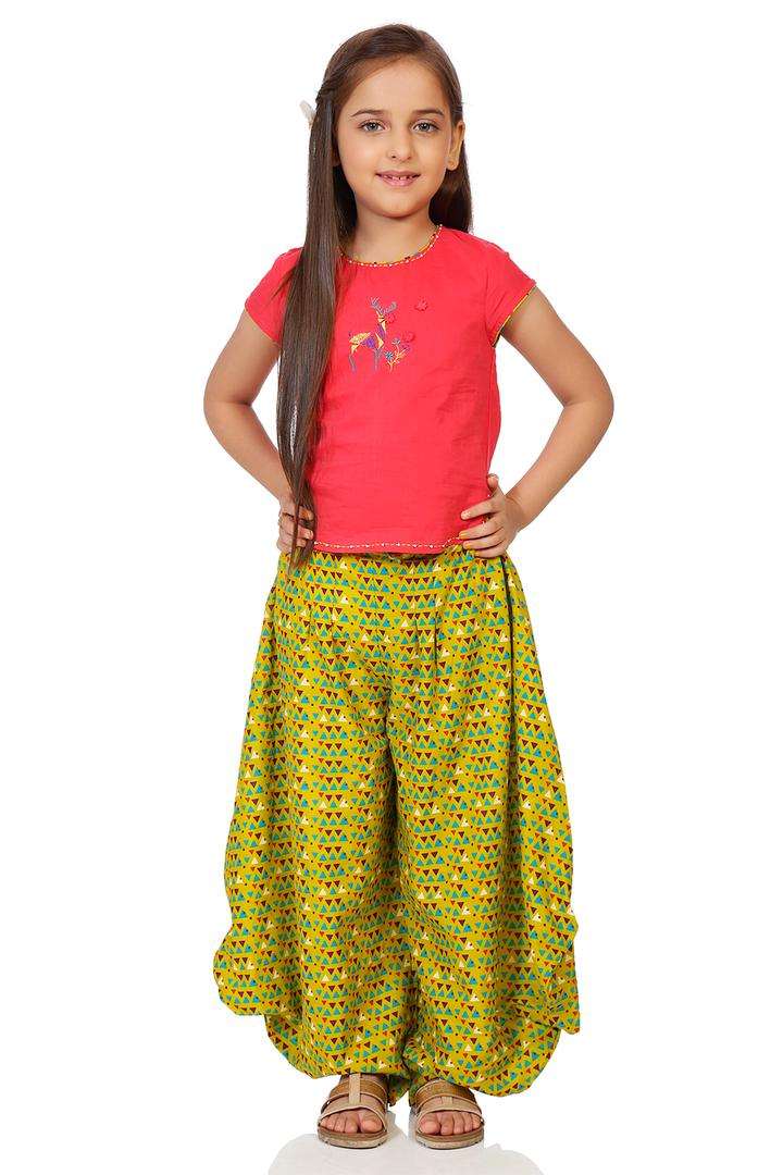 Coral & Lime Green Cotton Straight Top & Fusion Pa