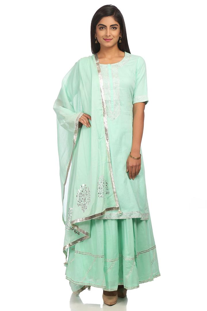 Sea Green Straight Cotton Suit Set - SKD5432SS18SE