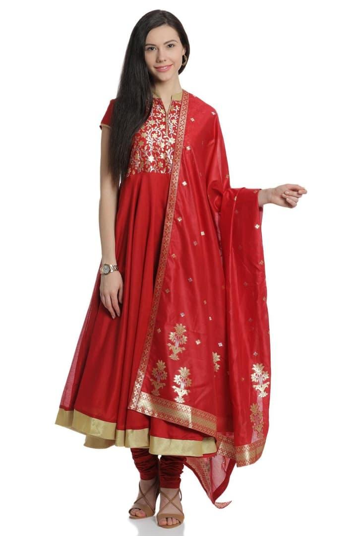 Red Anarkali Cotton Silk Suit Set - SKD5500SS18RED