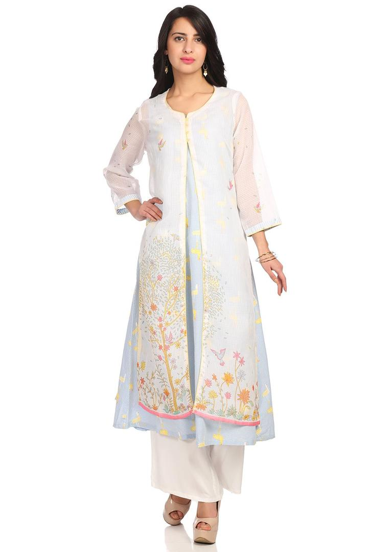 Off White & Blue Front Open Cotton Kurta - SPRINGF