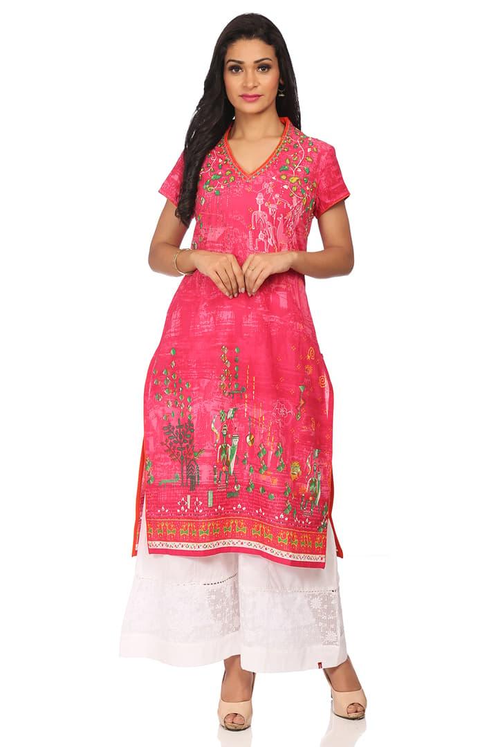 Pink Straight Cotton Kurta - URBANFO13782SS18PNK