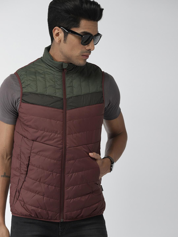 Men's Jackets, Men's Wine Solids Gilet Jacket