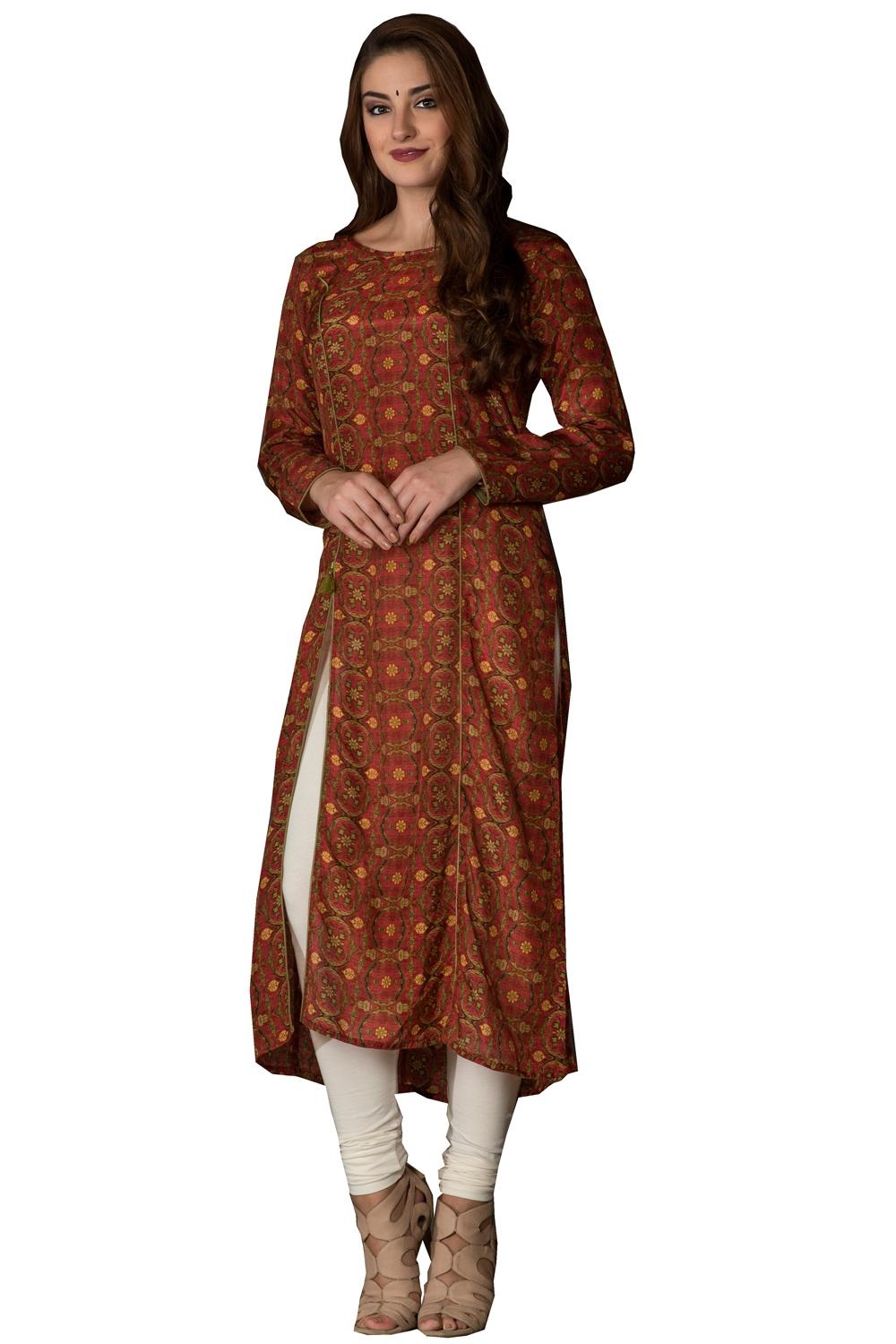 Printed long kurti rust colour kalanjali