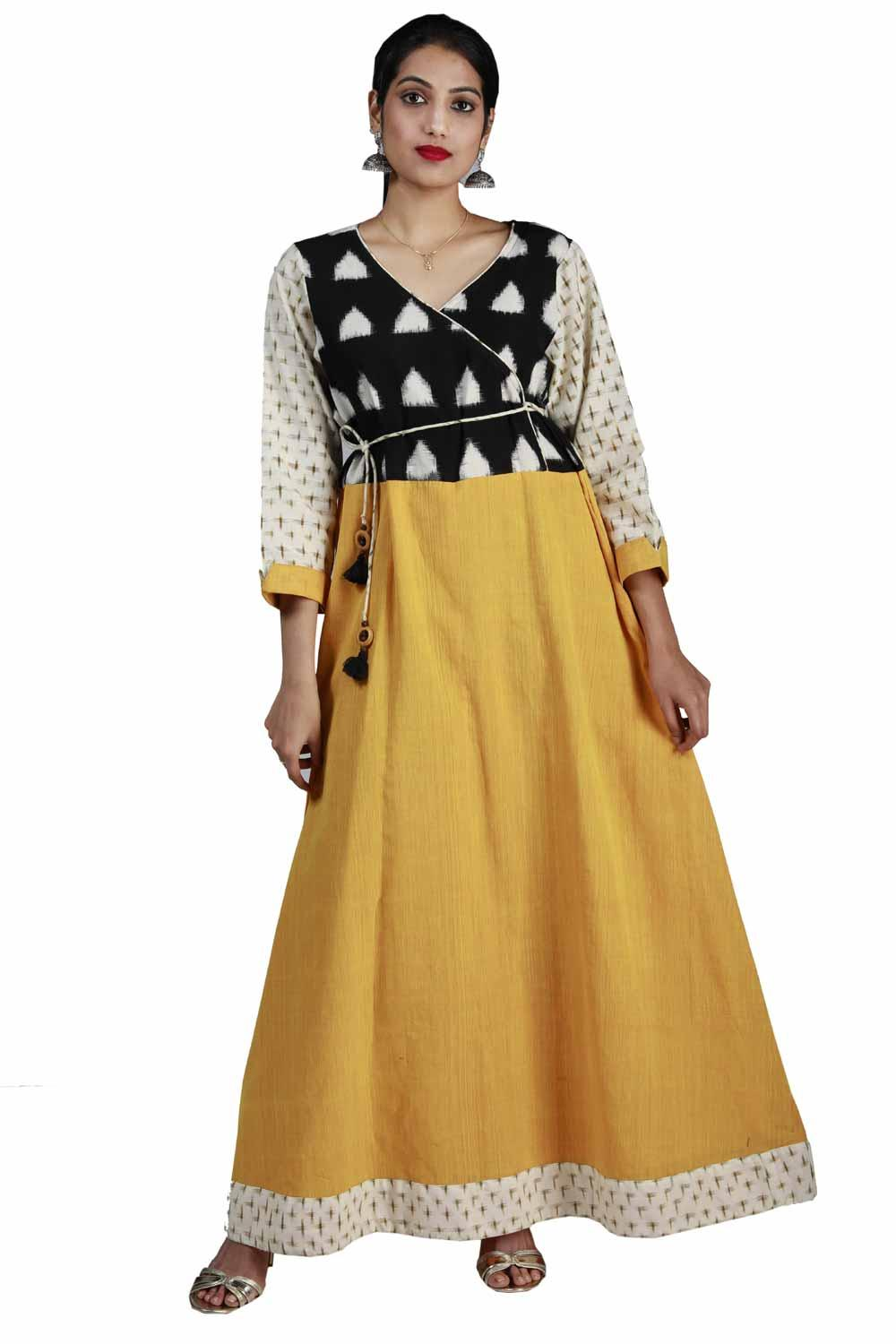 yellow cotton angrakha long dress kalanjali
