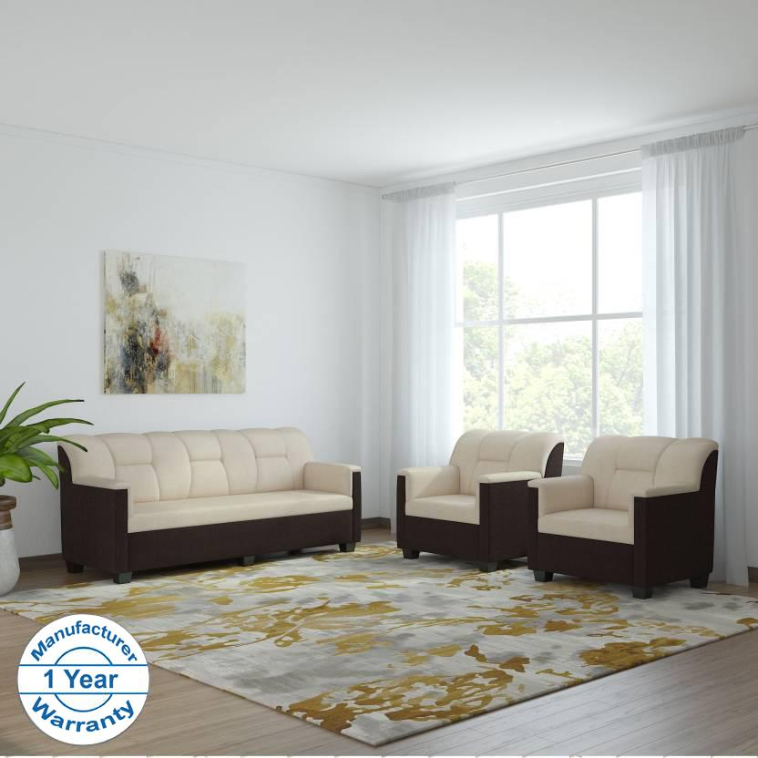 Bharat Lifestyle Star Fabric 5 Seater Sofa Set 3 1 1 Cream Brown Online Price In India Buybhara