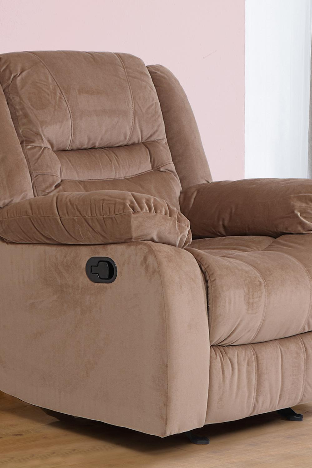Houston Fabric Recliner Sofa 1 Seater-Light Brown