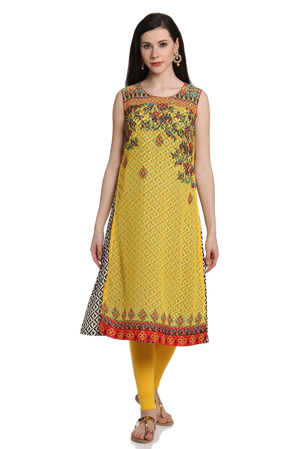 Yellow Flared Poly Cotton Kurta - AJMAN13860SS18YE